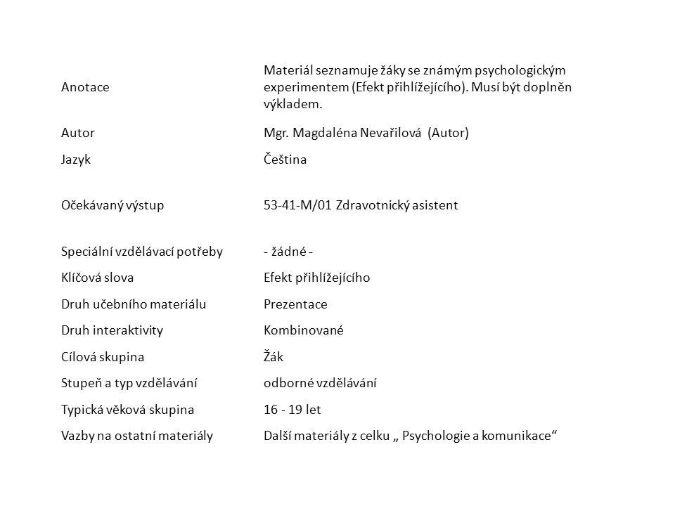Anotace Materiál seznamuje žáky se známým psychologickým experimentem (Efekt přihlížejícího). Musí být doplněn výkladem.