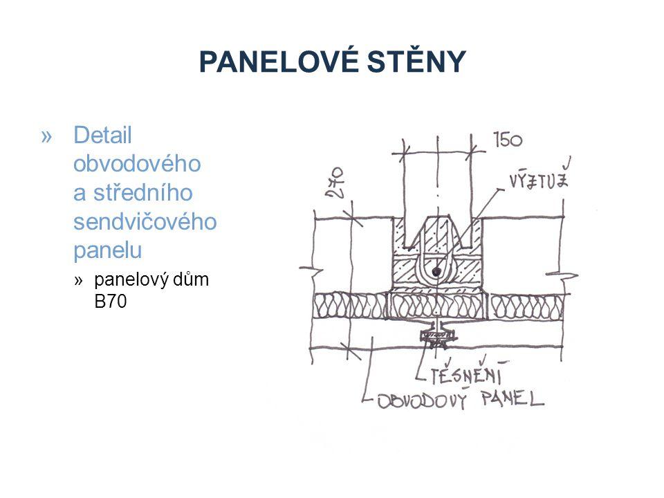 Panelové stěny Detail obvodového a středního sendvičového panelu