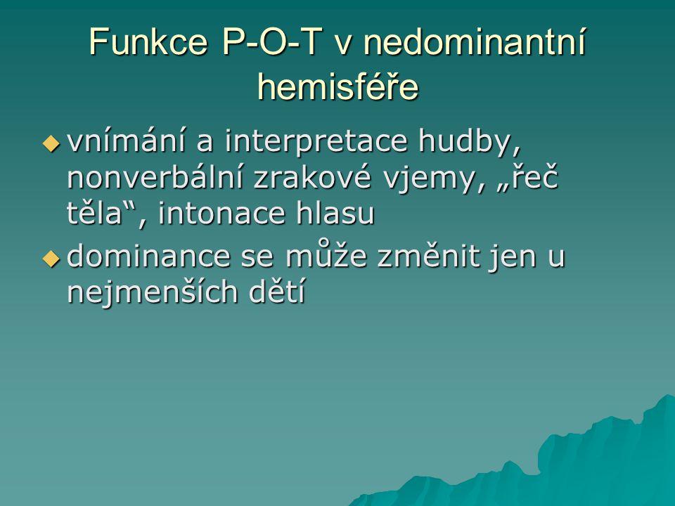 Funkce P-O-T v nedominantní hemisféře