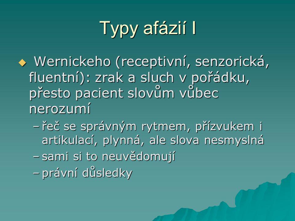 Typy afázií I Wernickeho (receptivní, senzorická, fluentní): zrak a sluch v pořádku, přesto pacient slovům vůbec nerozumí.