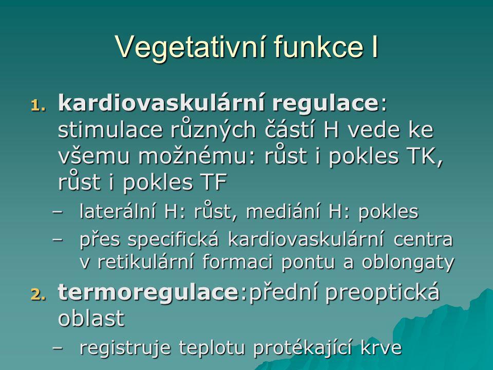Vegetativní funkce I kardiovaskulární regulace: stimulace různých částí H vede ke všemu možnému: růst i pokles TK, růst i pokles TF.