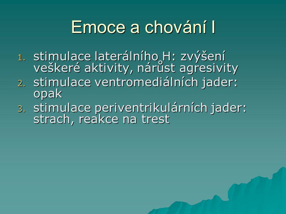 Emoce a chování I stimulace laterálního H: zvýšení veškeré aktivity, nárůst agresivity. stimulace ventromediálních jader: opak.
