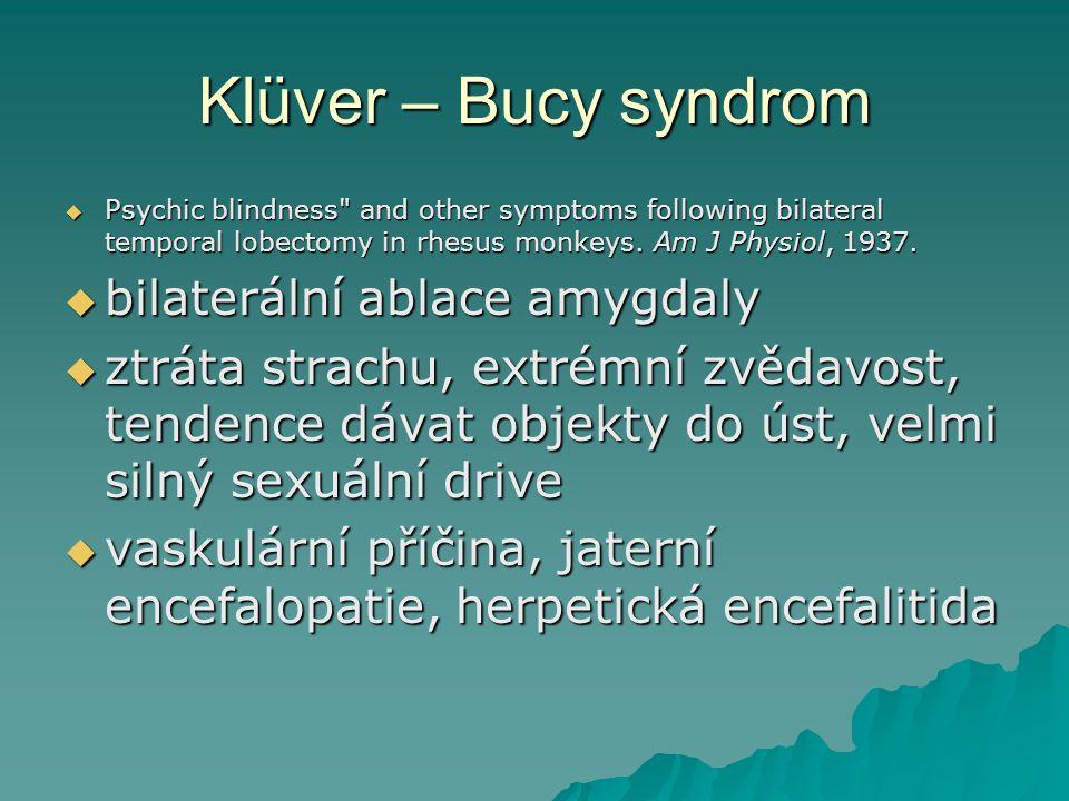 Klüver – Bucy syndrom bilaterální ablace amygdaly