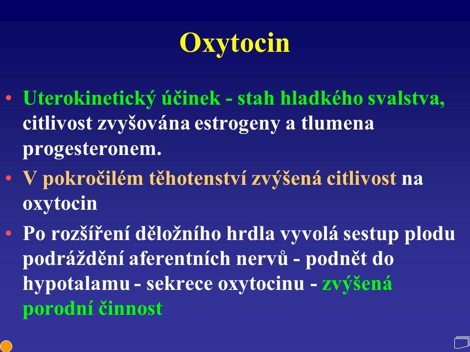 Oxytocin Uterokinetický účinek - stah hladkého svalstva, citlivost zvyšována estrogeny a tlumena progesteronem.