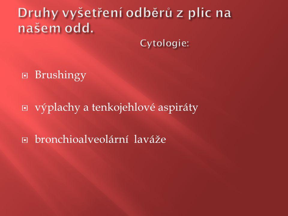 Druhy vyšetření odběrů z plic na našem odd. Cytologie: