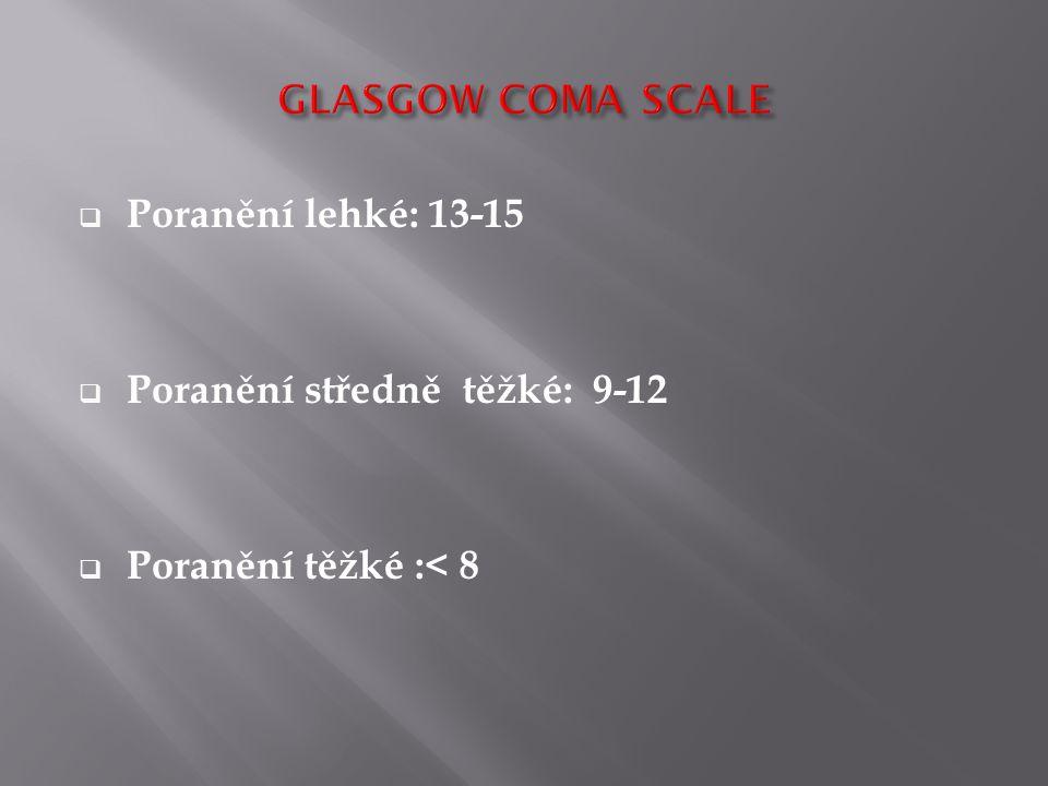 GLASGOW COMA SCALE Poranění lehké: 13-15 Poranění středně těžké: 9-12 Poranění těžké :< 8