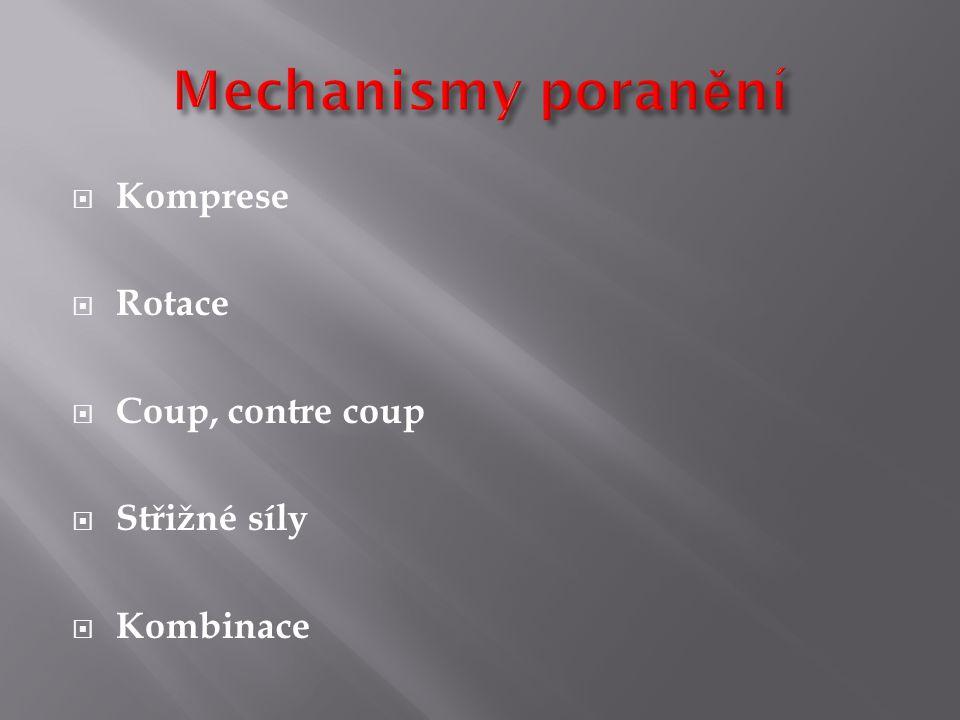 Mechanismy poranění Komprese Rotace Coup, contre coup Střižné síly