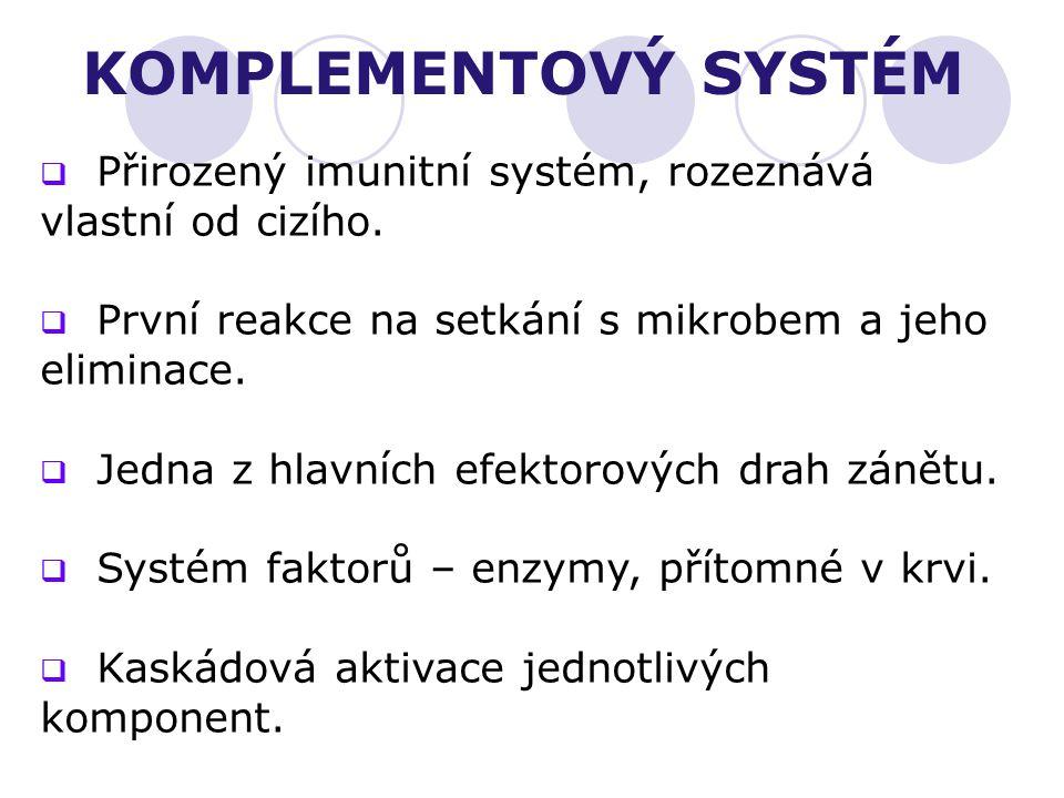 KOMPLEMENTOVÝ SYSTÉM Přirozený imunitní systém, rozeznává vlastní od cizího. První reakce na setkání s mikrobem a jeho eliminace.