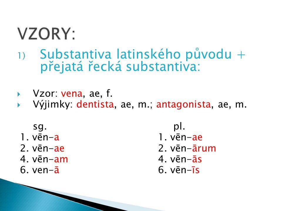VZORY: Substantiva latinského původu + přejatá řecká substantiva: