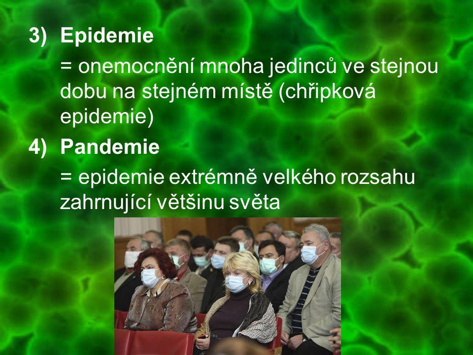 Epidemie = onemocnění mnoha jedinců ve stejnou dobu na stejném místě (chřipková epidemie) Pandemie.