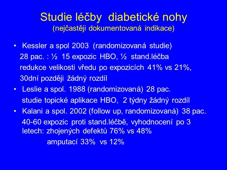 Studie léčby diabetické nohy (nejčastěji dokumentovaná indikace)