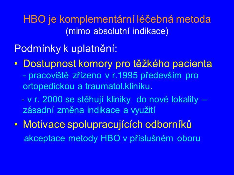 HBO je komplementární léčebná metoda (mimo absolutní indikace)