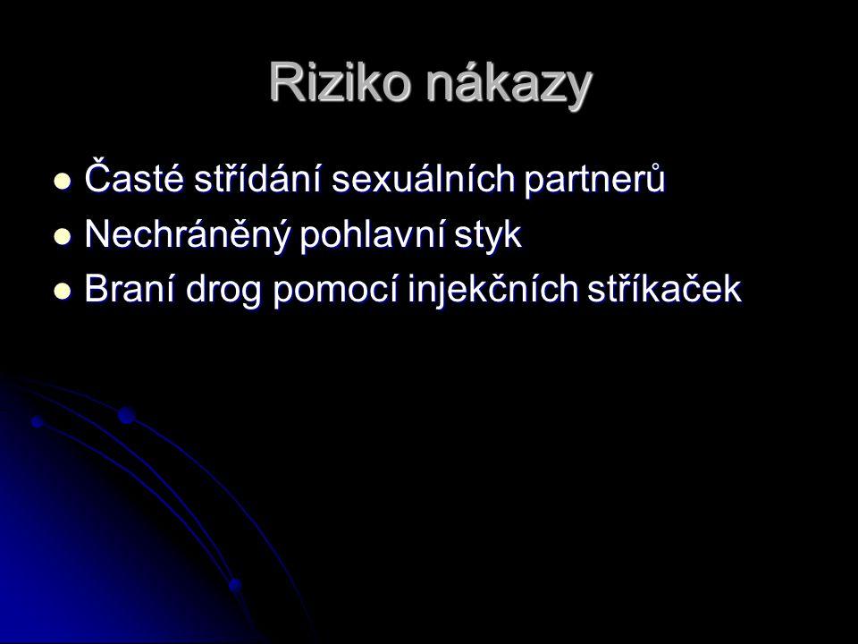 Riziko nákazy Časté střídání sexuálních partnerů