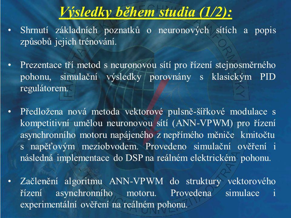 Výsledky během studia (1/2):