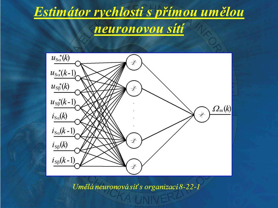 Estimátor rychlosti s přímou umělou neuronovou sítí