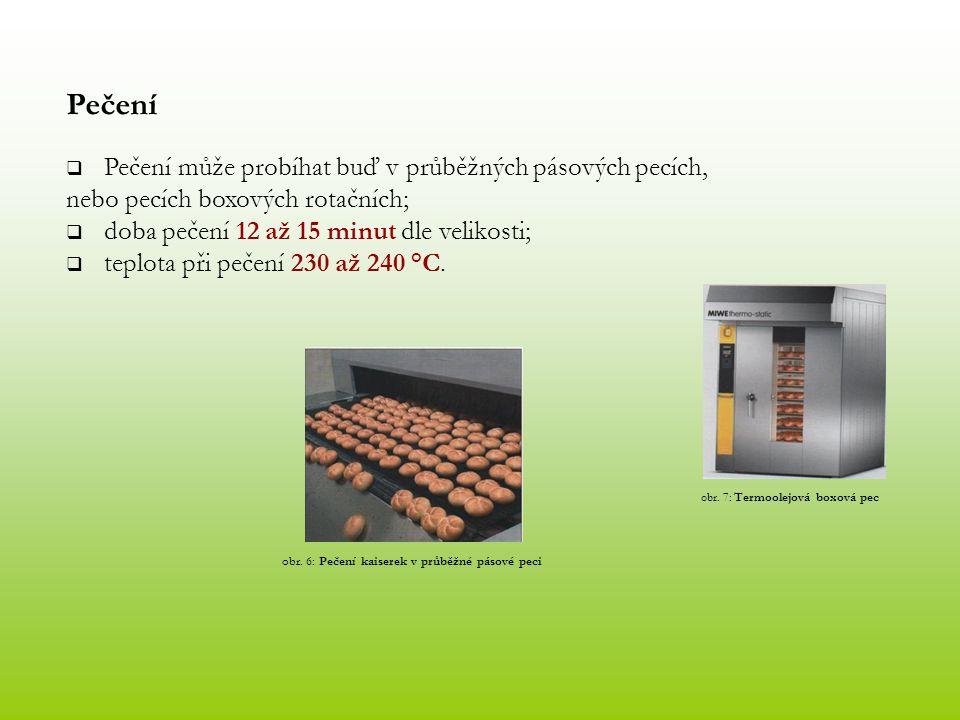Pečení Pečení může probíhat buď v průběžných pásových pecích,