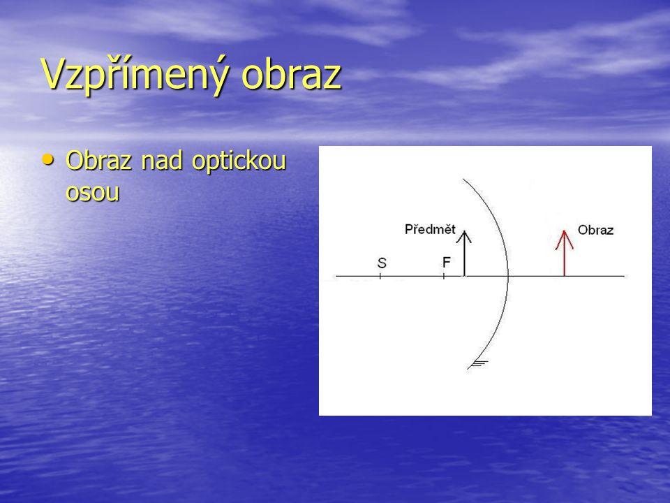 Vzpřímený obraz Obraz nad optickou osou