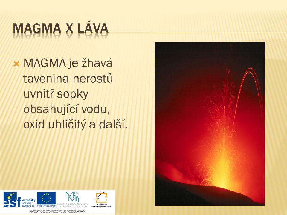 Magma x láva MAGMA je žhavá tavenina nerostů uvnitř sopky obsahující vodu, oxid uhličitý a další.