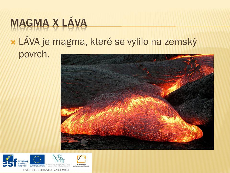 Magma x láva LÁVA je magma, které se vylilo na zemský povrch.