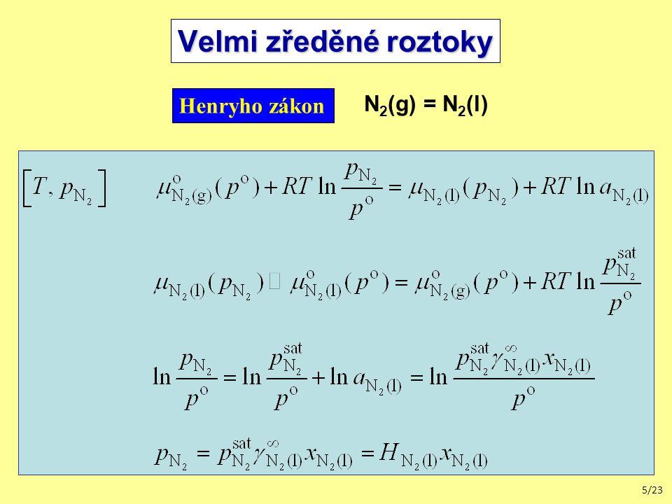 Velmi zředěné roztoky Henryho zákon N2(g) = N2(l)