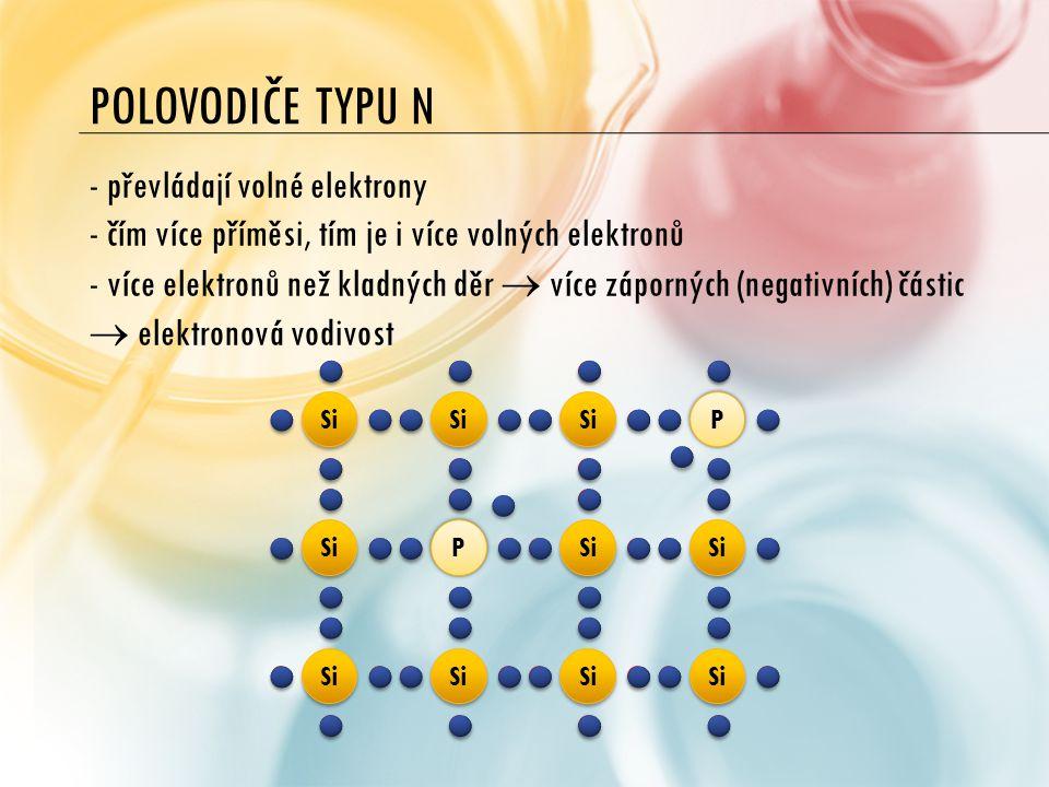 Polovodiče typu n převládají volné elektrony