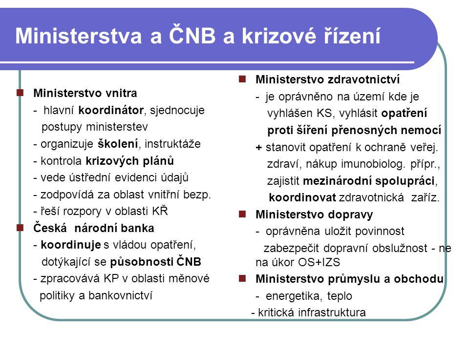 Ministerstva a ČNB a krizové řízení