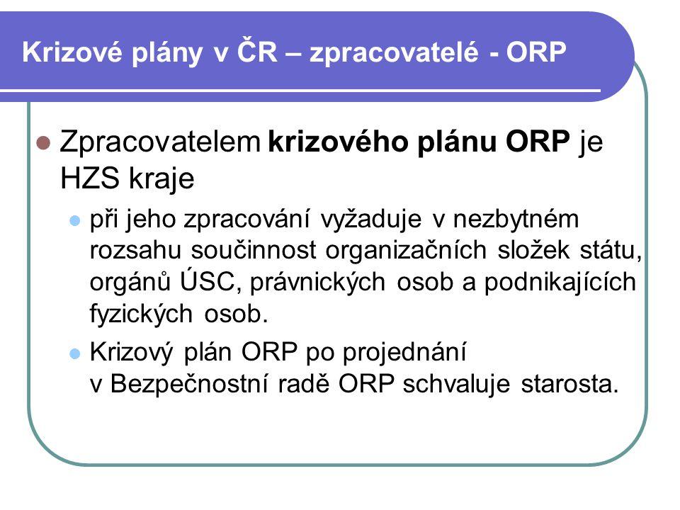 Krizové plány v ČR – zpracovatelé - ORP