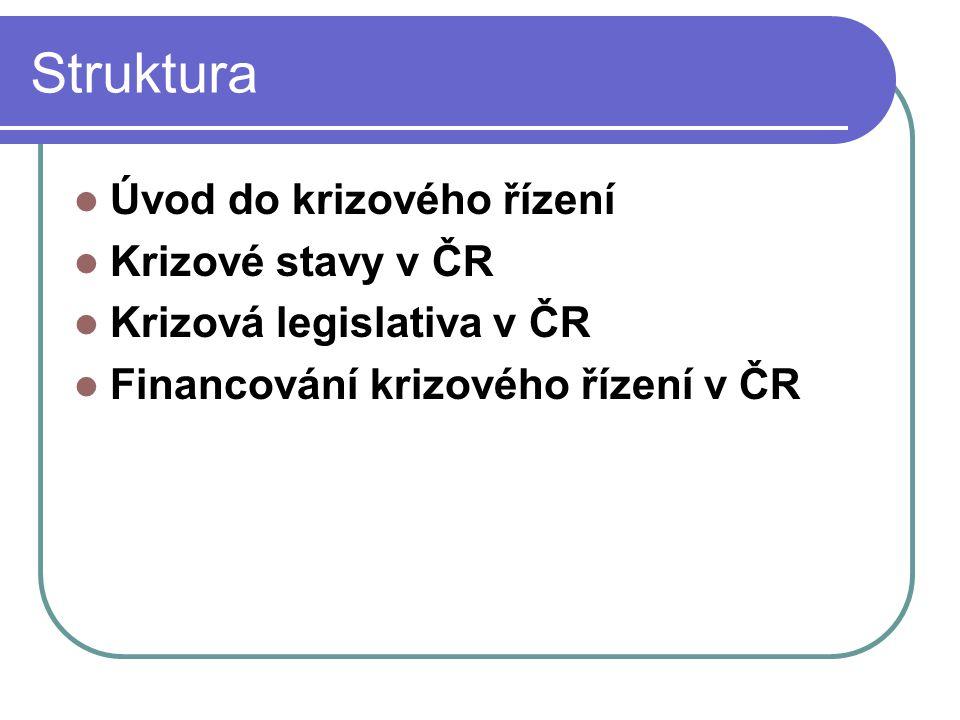 Struktura Úvod do krizového řízení Krizové stavy v ČR