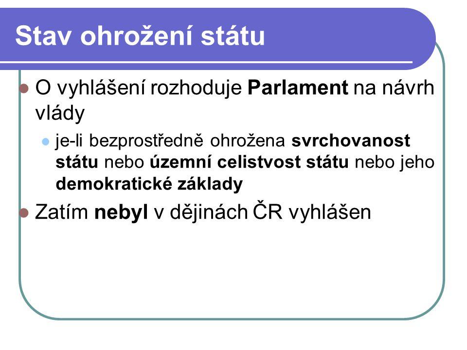 Stav ohrožení státu O vyhlášení rozhoduje Parlament na návrh vlády