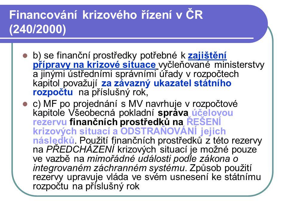 Financování krizového řízení v ČR (240/2000)