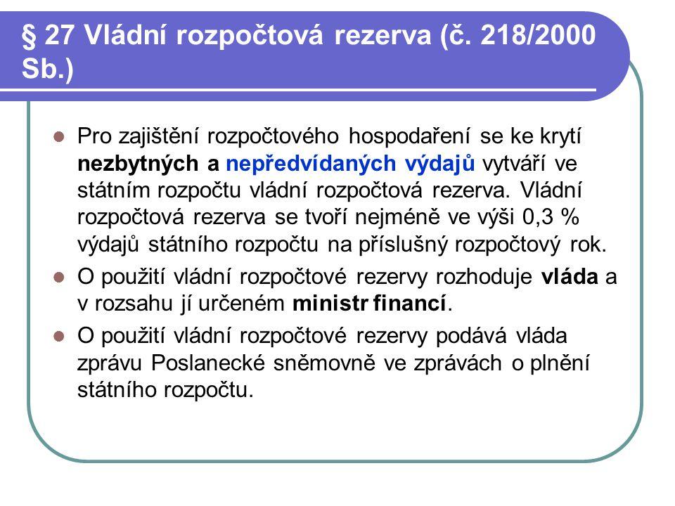 § 27 Vládní rozpočtová rezerva (č. 218/2000 Sb.)