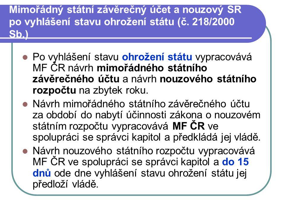 Mimořádný státní závěrečný účet a nouzový SR po vyhlášení stavu ohrožení státu (č. 218/2000 Sb.)
