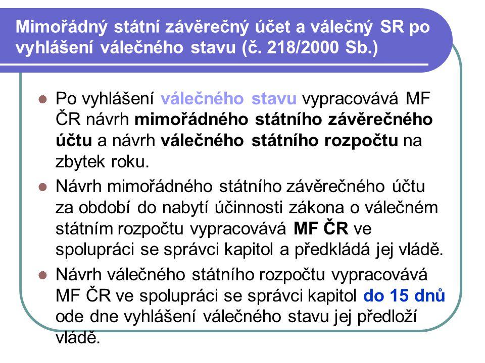Mimořádný státní závěrečný účet a válečný SR po vyhlášení válečného stavu (č. 218/2000 Sb.)