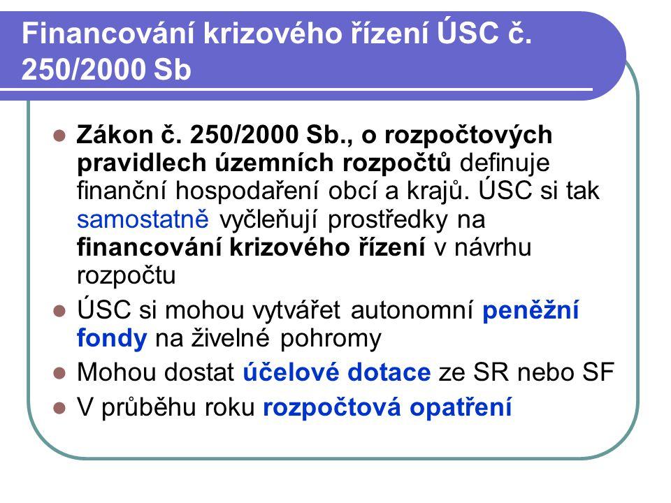 Financování krizového řízení ÚSC č. 250/2000 Sb