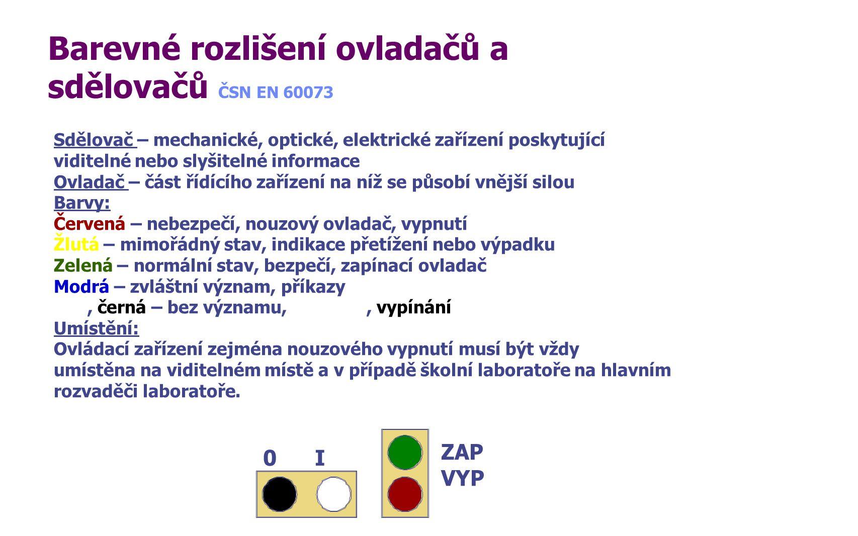 Barevné rozlišení ovladačů a sdělovačů ČSN EN 60073