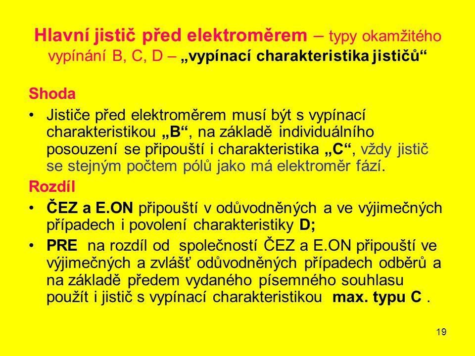 """Hlavní jistič před elektroměrem – typy okamžitého vypínání B, C, D – """"vypínací charakteristika jističů"""