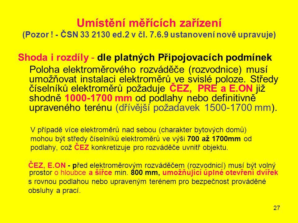 Umístění měřících zařízení (Pozor. - ČSN 33 2130 ed. 2 v čl. 7. 6