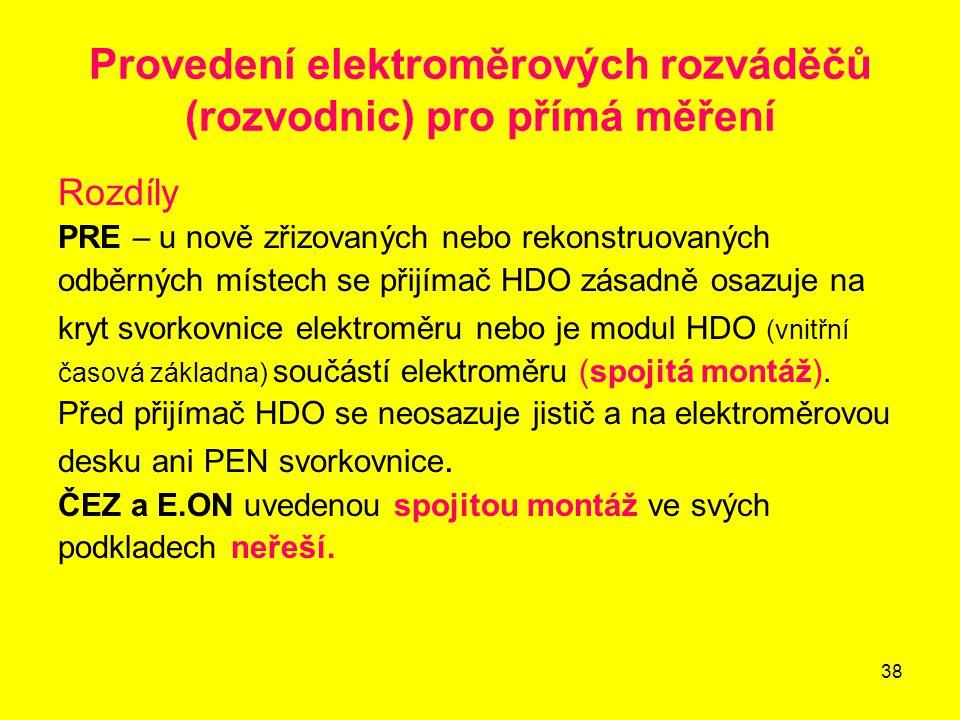 Provedení elektroměrových rozváděčů (rozvodnic) pro přímá měření