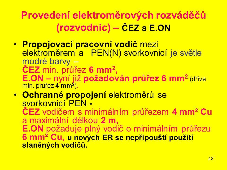 Provedení elektroměrových rozváděčů (rozvodnic) – ČEZ a E.ON