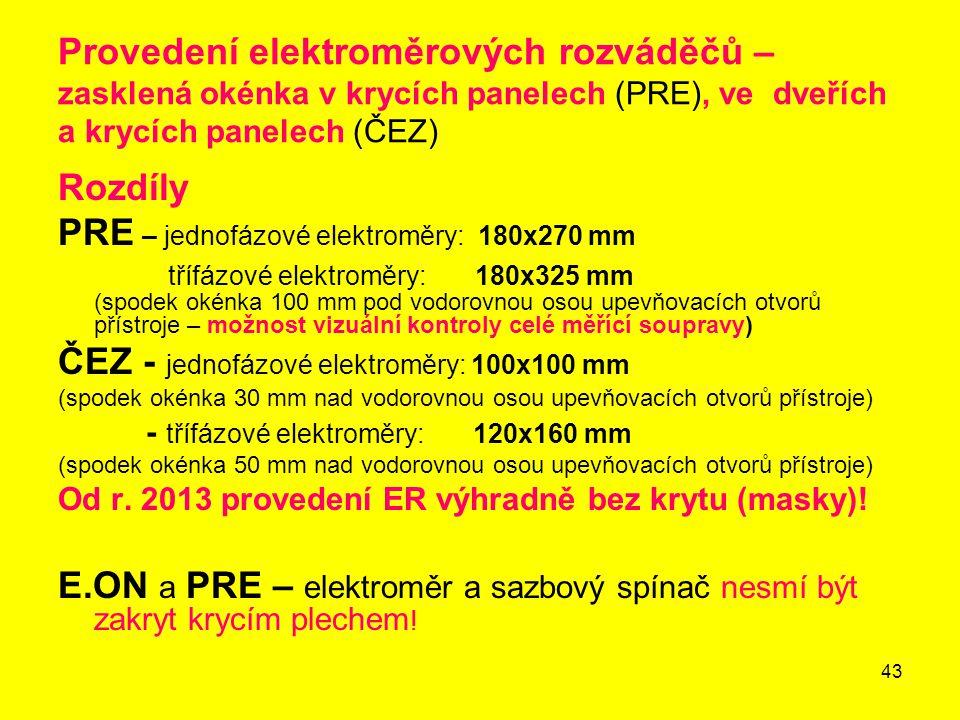 PRE – jednofázové elektroměry: 180x270 mm