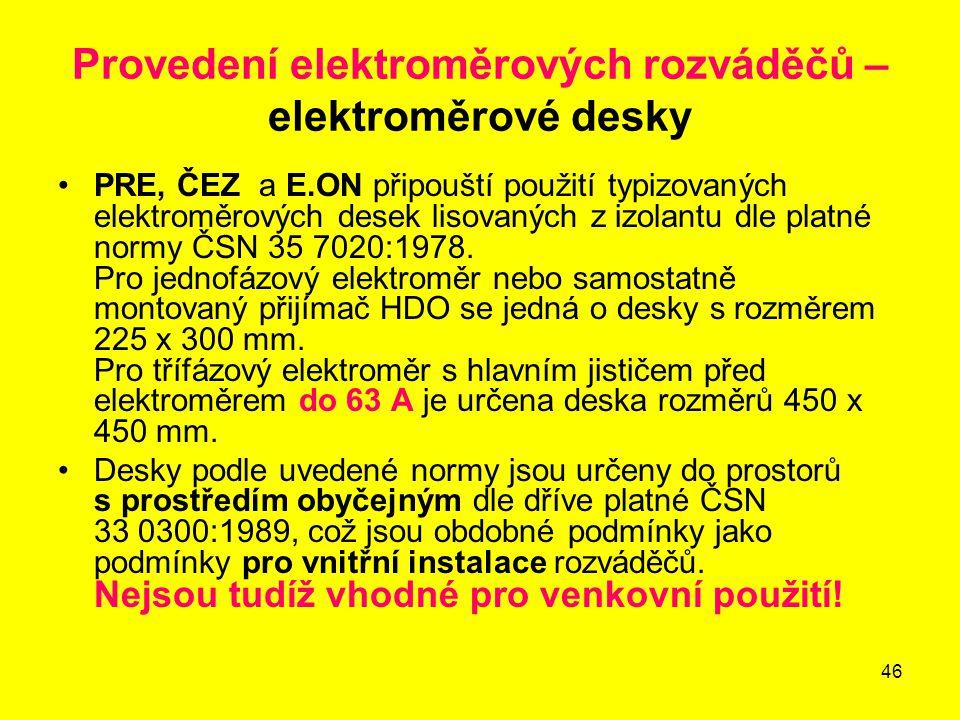 Provedení elektroměrových rozváděčů – elektroměrové desky