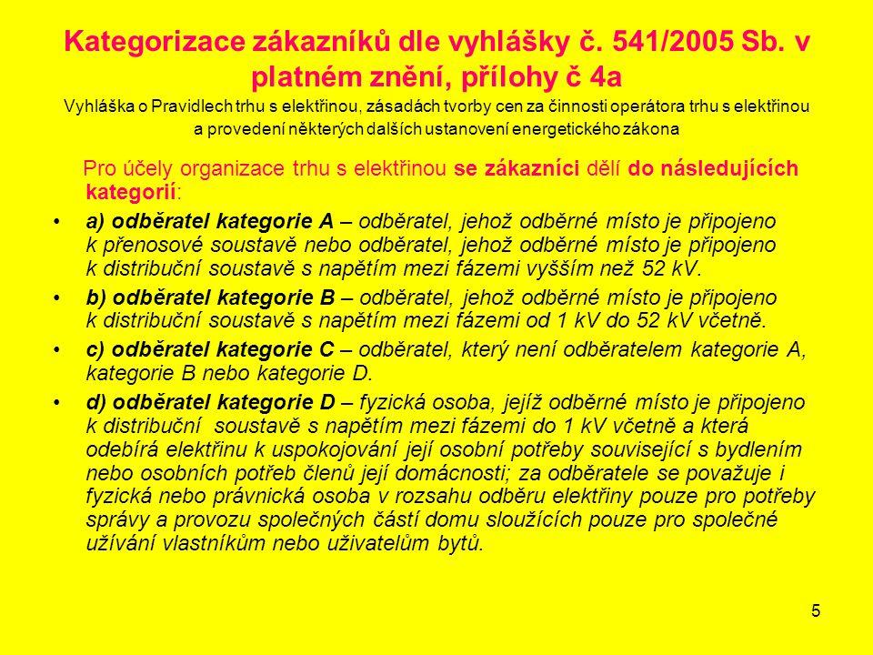 Kategorizace zákazníků dle vyhlášky č. 541/2005 Sb