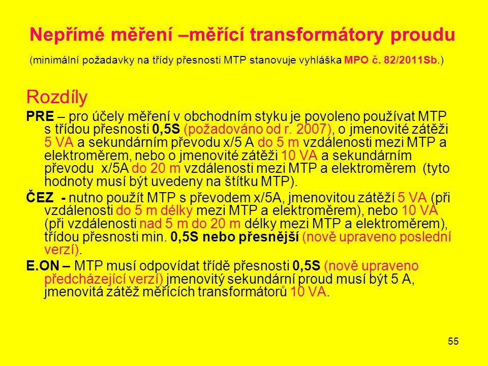 Nepřímé měření –měřící transformátory proudu (minimální požadavky na třídy přesnosti MTP stanovuje vyhláška MPO č. 82/2011Sb.)