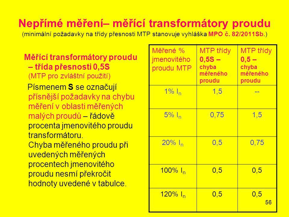 Nepřímé měření– měřící transformátory proudu (minimální požadavky na třídy přesnosti MTP stanovuje vyhláška MPO č. 82/2011Sb.)
