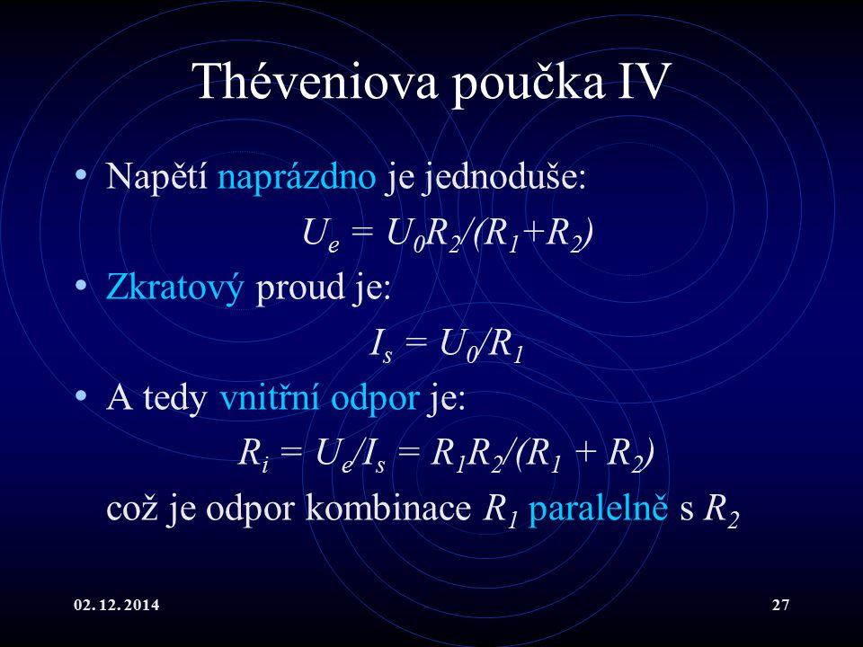 Théveniova poučka IV Napětí naprázdno je jednoduše: Ue = U0R2/(R1+R2)