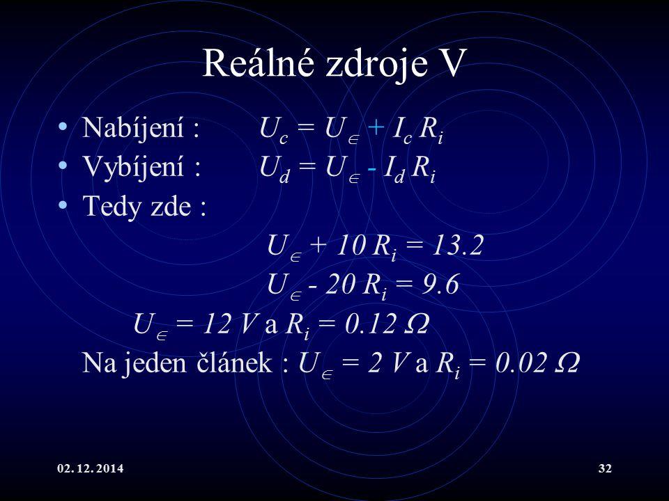 Reálné zdroje V Nabíjení : Uc = U + Ic Ri Vybíjení : Ud = U - Id Ri