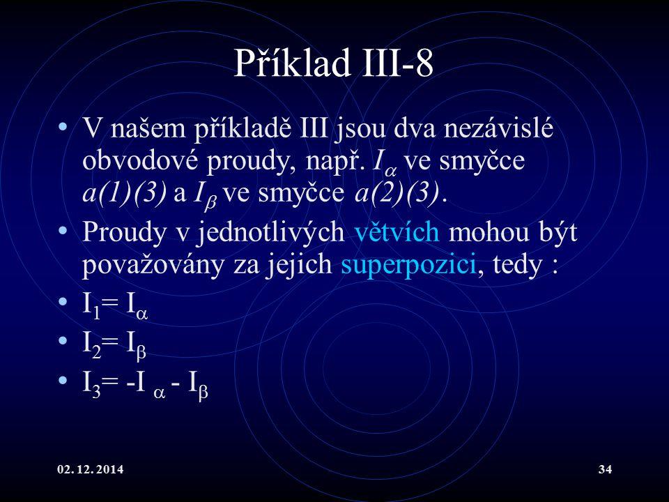 Příklad III-8 V našem příkladě III jsou dva nezávislé obvodové proudy, např. I ve smyčce a(1)(3) a I ve smyčce a(2)(3).