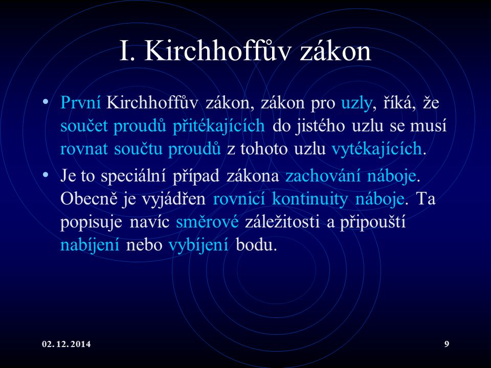 I. Kirchhoffův zákon