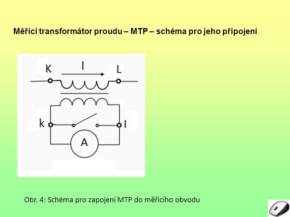 Měřicí transformátor proudu – MTP – schéma pro jeho připojení