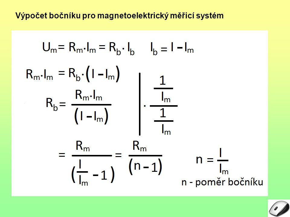 Výpočet bočníku pro magnetoelektrický měřicí systém